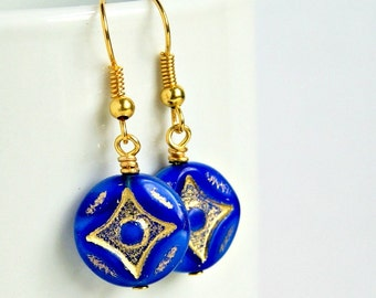 SALE starburst blue and gold beaded drop earrings, czech glass earrings, royal, minimalistic