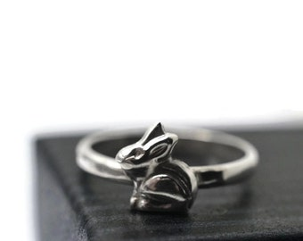 Silver Rabbit Ring, Silver Bunny Ring, Sterling Silver Animal Ring, Animal Jewelry