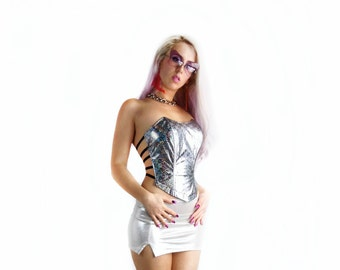 90's Rainbow Hologram Cage Corset Top