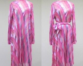 Vintage 1970s Dress / 70s Boho Chic Bias Cut Silk Midi Dress / Medium