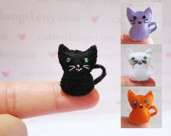 Felt Miniature - Felted Miniature kitten - Felted kitten - felted miniature - kitten miniature - tiny kitten - felted black kitten