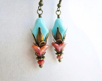 Coral Pink Czech Glass Flowers & Blue Layered Bronze Earrings, Boho Chic