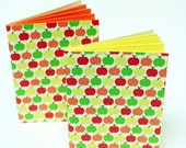 Apple Sketchbooks, 2 Eco-friendly pocket sketchpads with retro mod pattern, Recycled eco journals, perfect gift for artists, architects