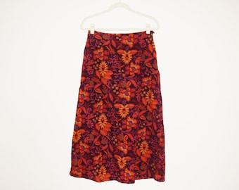 Vintage Corduroy Fall Floral Skirt