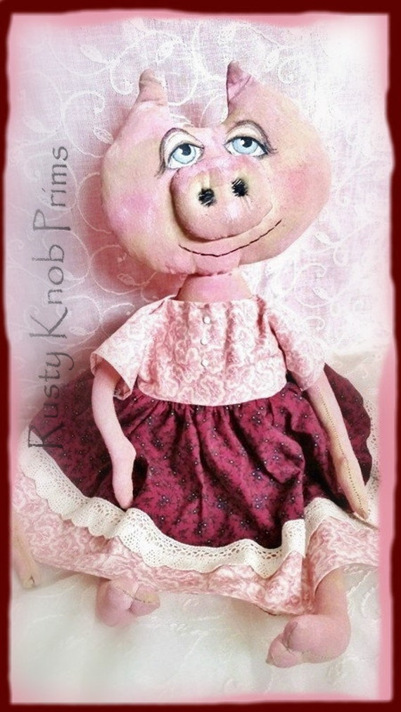 Primitive Peneploe Pig Collector Art Doll