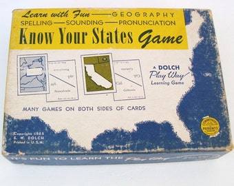 Vintage Travel Game | Flash Cards | United States | Learning Toys | Mix Media Art | Know Your States
