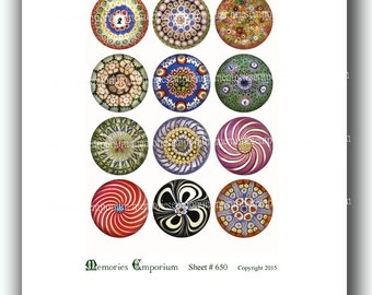 Victorian Paperweights Antique Glass Printable Clipart 1.5 inch circles Decoupage Jewelry Buttons Magnets Compact Digital Collage Sheet 650