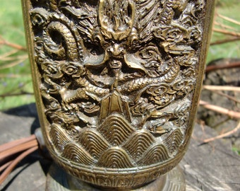 Asian Influenced Dragon Themed Table Lamp*Lamp Shade Not Included