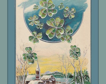 Luck of the New Moon- 1900s Antique Postcard- Happy New Year- Four Leaf Clovers- Holiday Card- Edwardian Decor- Paper Ephemera- Used