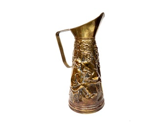 Brass Repousse Tavern Pitcher Beer Jug