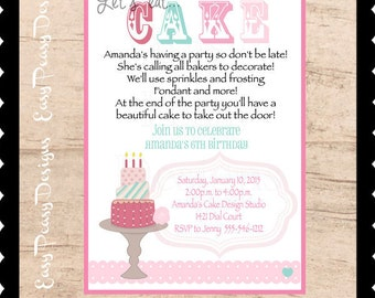 Cake Decorating Birthday Party Invitations : Cake boss party Etsy