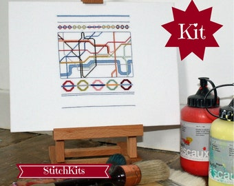 Cross Stitch Kit. London Underground Map- DIY kit- By Ruth Caig