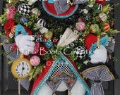 "PRE-ORDER for ""2017"" Delivery-""Hatter Rabbit"" Easter Wreath-Mad Hatter Rabbit-Petals & Plumes-ORIGINAL Creator of the ""Hatter Rabbit Wreath"""