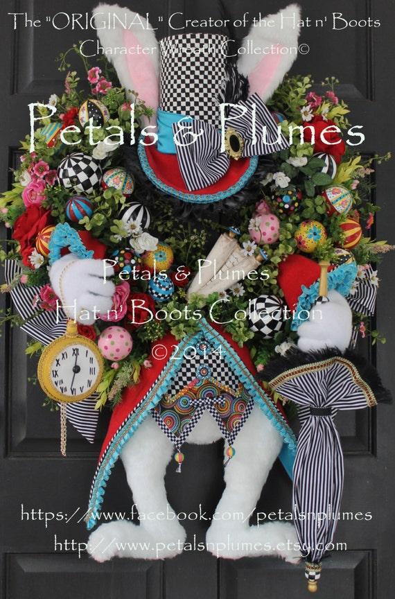 "PRE-ORDER for ""2017"" Delivery-""Hatter Rabbit"" Easter Wreath-Mad Hatter Rabbit- Petals & Plumes Original Design©(SOLD Out for  2016)"