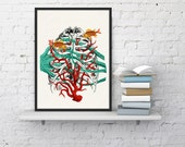 Human Sternon at the seabed -Anatomy  art Print- Anatomy study Art- Future doctor gift- Anatomy Art- Office wall art , Doctors gift WSK09