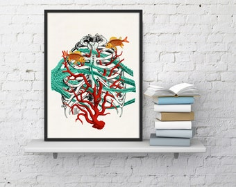 winter sale 10 off human sternon at the seabed anatomy art print anatomy study art future doctor gift office wall art doctors gift wsk09 anatomy eat kitchen