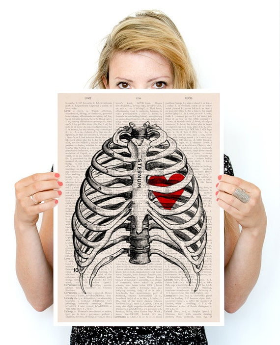 My heart on a rib cage Poster, anatomical art, Love art Wall art, anatomy art, Giclee art, Anatomical wall art, SKA019PA3