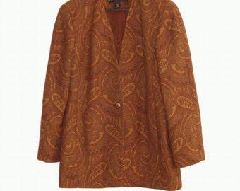 Sale Vintage Linda Allard for Ellen Tracy Jacket, Size 12 Wool Paisley Earth Color