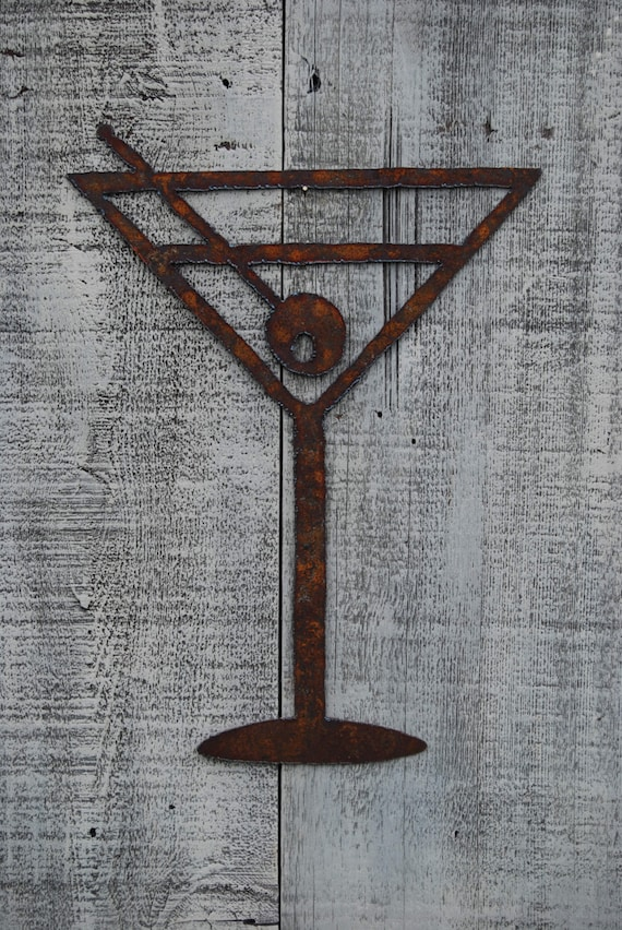 Cheers Martini Glass Metal Art Wall Hanging Bar Decor