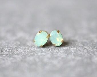Mint Green Opal Earrings Swarovski Crystal 8mm Oval Petite Studs Super Sparklers Small RARE Vintage Pastel Green Wedding Earrings Mashugana