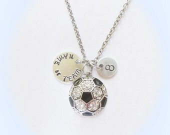 Ultra Personalized Soccer Necklace to add Name or Team Name with  Number Charm
