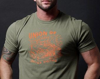 Men's T-shirt Sale - Mens tee Military Green short sleeve tshirt for men - Union of Mechanics. Men' apparel. Mens crew neck tee - Mens Gifts