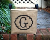20% OFF! Personalized Burlap Bin with Single Monogram in Black