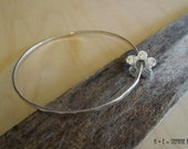 Handmade Daisy Bangle - Fine Silver - PMC - Sterling Silver - OOAK