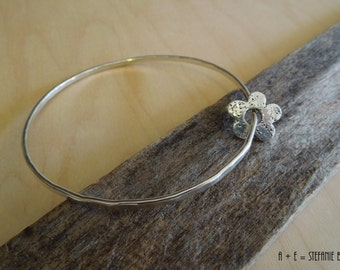 Handmade Daisy Bangle - PMC - Sterling Silver - OOAK