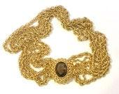 Multi Strand Gold Tone Chain Necklace with Smoky Quartz Glass Box Clasp