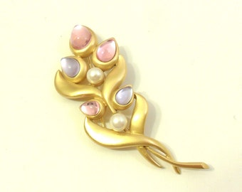 SALE Vintage Marvella Brooch with Pink and Purple Cabochons and Faux Pearls - Satin Gold Tone Floral