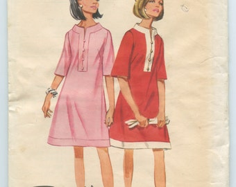 1960s Dress Pattern Butterick 4363 A Line Dress Caftan Neckline Button Front Neckline Contrast Collar and Hem Vintage Sewing Pattern Bust 32