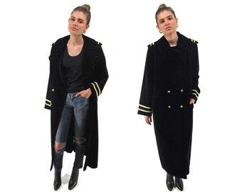 Vintage 80s Military Coat, Oversized Coat, Maxi Velvet Coat, Double-Breasted Coat, Oversized 80s Military Coat, Hi Sailor Coat Δ size: lg
