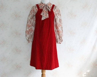 Vintage 70s Dress, 1970s Pinafore, Corduroy Jumper, Red