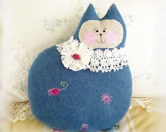 Large Cat Pillow Doll, Cloth Doll 9.5 inch, Embroidered Denim Fabric, Soft Sculpture Handmade CharlotteStyle Decorative Folk Art