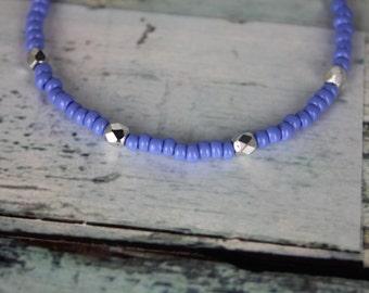 Periwinkle/Silver Beaded Bracelet