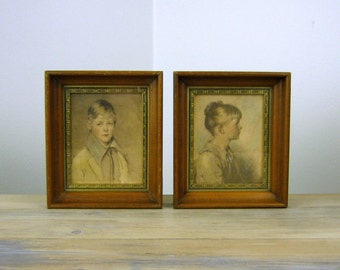 Vintage Peter and Charlotte Prints, Pair of Framed Prints