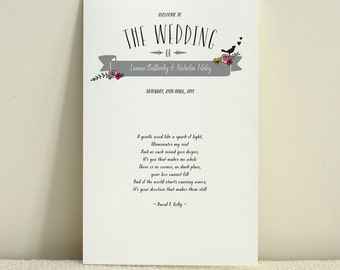 A Bicycle Built For Two Wedding Program / Order of Service - DIY Printable PDF Template - Folded or Flat Card
