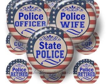 Police Officer, 1 Inch Circles, Digital Collage Sheet, Bottle Cap Images, Law Enforcement, Printable Instant Download, Vintage Flag Design