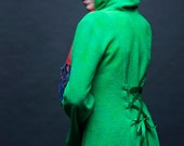 S. Size small womens coat. The Gretel Coat in hand dyed bamboo fleece with corset back. Emerald Green. Super soft. Laces in back.