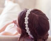 White Modern Headband, White Crystal Bridal Headband, Tie-on Crystal Headpiece, White Wedding Hair Accessories, Bridal Hair Piece, Halo