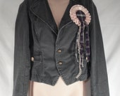 Gray Steampunk Jacket with Embroidered Eagle & Purple Plaid Bustle, Junk Gypsy Style, Horse Ribbon Lapel Pin