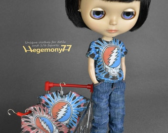 Tie dye doll T shirt for: Blythe, Dal, Monster High...
