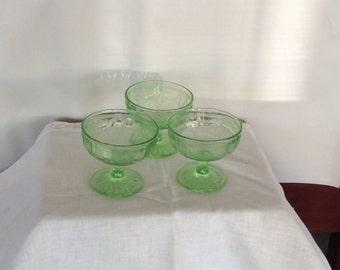 Green Depression Cameo/Ballerina Sherbert Glass Pre Mid Century Anchor Hocking Sherbets