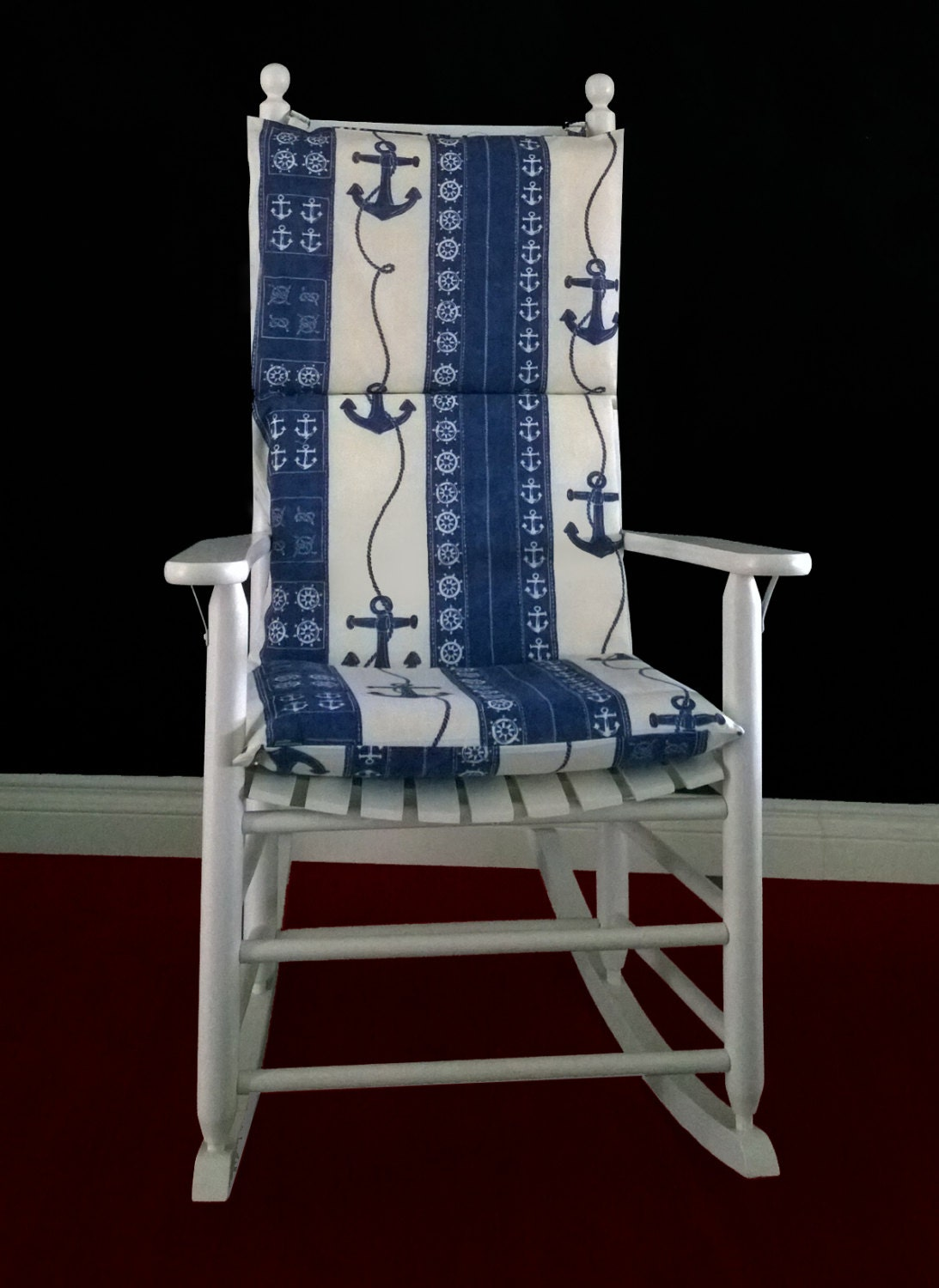on sale rocking chair cushion nautical french blue anchor. Black Bedroom Furniture Sets. Home Design Ideas