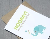 Baby Card, Hooray New Baby, Elephant Card