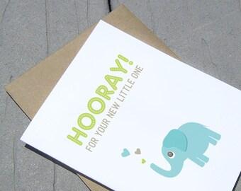 Baby Card, Hooray New Baby, Elephant Card