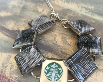 Recycled Starbucks Gift Card Charm bracelet, resin jewelry, upcycled repurposed, Silver