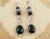 Black Tourmaline Earrings Sterling Silver Bali Bead Black Onyx Gemstone Jewelry Rustic Bridesmaid Earrings Black Wedding Jewelry By SS