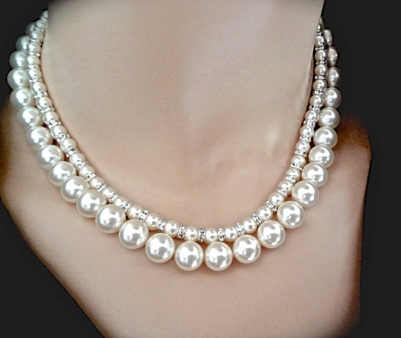Items similar to Chunky Pearl necklace ~ Brides necklace ...